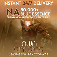 SALE [NA 50K+]League of Legends Unranked Account NA SMURF LoL 50,000 - 60,000 BE