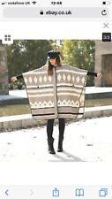 ZARA Beige Mink Aztec Navajo Blanket Poncho Cape Coat Jacket Medium One Size