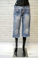 REPLAY Donna Taglia 29 Pantalone Corto Bermuda Pantaloncini Shorts Pinocchietto