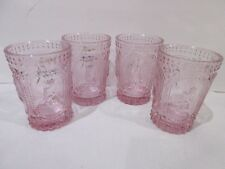 NEW Easter Hobnail Bunny Rabbit Knobby Pink Drinking Glasses S/4