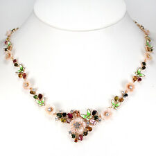 Sterling Silver 925 Rose Gold Plated Mother Of Pearl & Mixed Gem Necklace 21 In