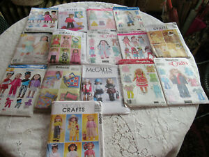 """18"""" Doll Clothing Sewing Patterns Lot Of 15 Patterns Clothes & Accesories Dolls"""