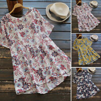 Women Cotton Vintage Summer Shirt Tops Floral Round Neck Blouse T-Shirt Tee Plus