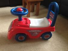 Spiderman Push along sit on childs toy, horn, steering wheel, storage under seat