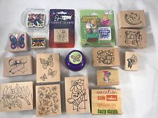 Rubber & Wood Stamp Lot Of 18 Stamps. Butterflies, plants & animals.