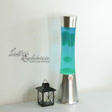 B-Ware: Verchromte Lavalampe in grün-blau 39cm mit Schalter Lavaleuchten Lampen