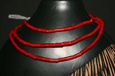 Strand antique Venetian red tube beads white inside