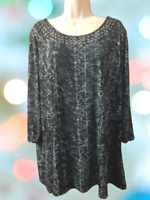 Citiknits Effortless Style Women's Blouse Plus 1X 3/4 Sleeve Pullover Top