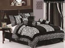 8-Piece Black/White Micro Fur Zebra Giraffe Comforter Set Bed-In-A-Bag Queen