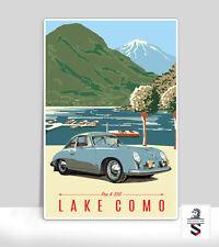"""Lake Como Porsche pre A 356. Art Poster on Aluminum. Garage sign 18"""" x 24"""""""