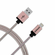 2x mbeat MFI Certified 2m Aluminium & Nylon Braided Lightning Cable - Rose Gold
