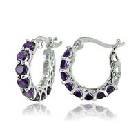 New Womans 18kWhite Gold Plated Amethyst Hoop Earrings Fashion Jewelry