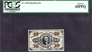 US 10c Fractional Currency Note 3rd Issue FR 1255 PCGS 65 PPQ Gem CU