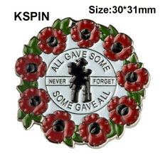 New Red Remembrance Poppy Pin Brooch Wreath Badge All Gave Some Gift UK STOCK