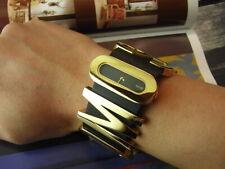 39MM LARGE ITALY MOSCHINO 7751120035 BLACK GOLD ALPHABET BRACELET QUARTZ WATCH