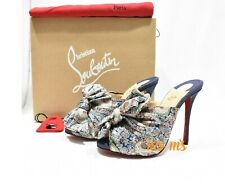 NIB CHRISTIAN LOUBOUTIN  Moniquissima 120 paisley satin denim mules Heel EU38.5