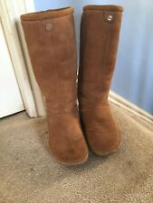 Fitflop sheepskin knee high boots used tan size 4