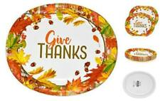 """50 Count Thanksgiving Oval Plates 10"""" X 12"""" Paper Disposable Dinner Autumn Fall"""