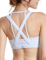 Women's Wirefree Mesh Cross Back Sports Bra Removable Pads Yoga Top