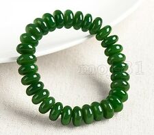 Natural 5x8mm Green Jade Rondelle Gemstone Beads Stretchy Bracelet 7.5'' Aaa