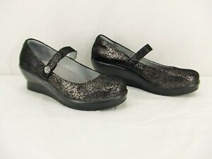 Alegria FLA-553 Pewter Florette Leather Mary Jane Wedge Womens Sz. 9.5 Med. New