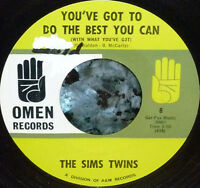 """*<* SALE! SIMS TWINS 1965 """"YOU'VE GOT TO DO THE BEST YOU CAN"""": M- vinyl SOUL 45!"""