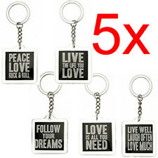 5 X WORDS OF WISDOM KEYRING KEY CHAIN RING GIFT QUOTE FRIEND NOVELTY RETRO NEW