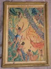Tableau années 30 gouache Bateau colombs indiens découverte amérique - en l'état