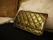 AUTHENTIC NEW WINTER COLLECTION CHANEL GOLD WOC WALLET PURSE CALFSKIN W/RECEIPT