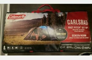 🆕 COLEMAN 8-Person Carlsbad Dark Room Dome Camp Tent WScreen Room, 2 Rooms ⛺