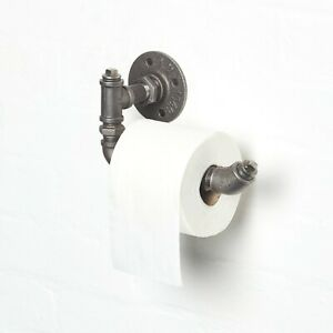 Industrial Steel Pipe Toilet Roll Holder Funky Style Wall Mounted