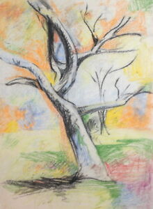 PASTEL DRAWING TREE LANDSCAPE