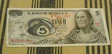 Mexican 5 Cinco  Paper Money Banknote Vintage Old
