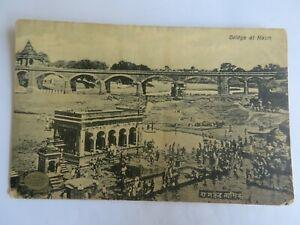 VINTAGE POSTCARD BRIDGE AT NASIK RAMKUND RIVER TEMPLE PEOPLE LIFE STYLE CULTURE