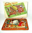 Vintage Lucky Mouse Tinplate Clockwork Toy In Box - Made In India