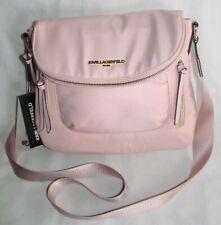 New Karl Lagerfeld Paris Cara Light Pink Nylon Messenger Crossbody Tote Bag