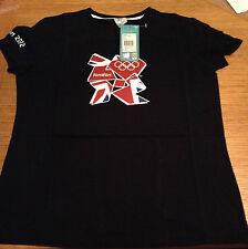 New London 2012 Para Mujer T Camisa Talla 14 Negro Adidas