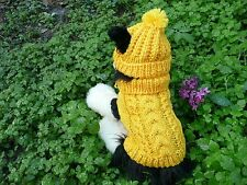 XXS  handmade knit Gold dog sweater&hat set