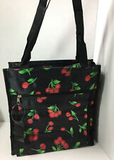 NEW Black w/ Red Cherries Green Shoping Tote Bag Eco-Friendly Grocery Pockets