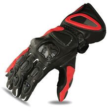 Motorcycle Gloves Motorbike Racing Cowhide Leather Riders Biker Black/Red, L-1