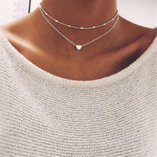 Silver Double Layers Heart Pendant Chain Choker Chunky Statement Bib Necklace