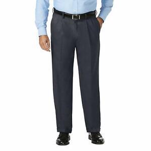 Haggar Mens Pants Blue Size 56X30 B&T Classic Dress - Flat Front Stretch $80 136