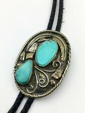 Vintage Western Style Bolo Tie Sterling Silver? Fancy Work Turquoise Stones