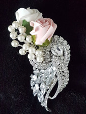 Rose and pearl Jewel buttonhole/corsage