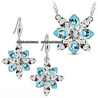 Frozen Xmas Gifts For Her Snowflake Blue Crystal Necklace Silver Love Girl Women