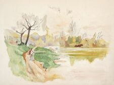 """VintageFrench Watercolor, """"Landscape in Autumn with Peasant"""", River"""