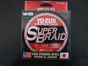 YO-ZURI SUPERBRAID Dark Green Fishing Line 10lb 300yd R1264-DG Super Braid