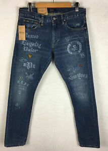 Polo Ralph Lauren Sullivan Slim Printed Patched Military Jeans 31x32 (Fit 32x31)