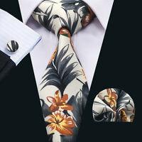 Floral Mens Tie Cotton Stylish Necktie Cufflinks and hanky Wedding Party SN-1379