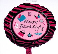 """18"""" FOIL BALLOON  HAPPY BIRTHDAY PARTY  NEW IN PACK - PINK & BLACK GIRLY"""